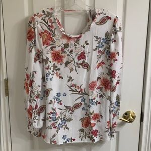New with tags creme floral print top tie back